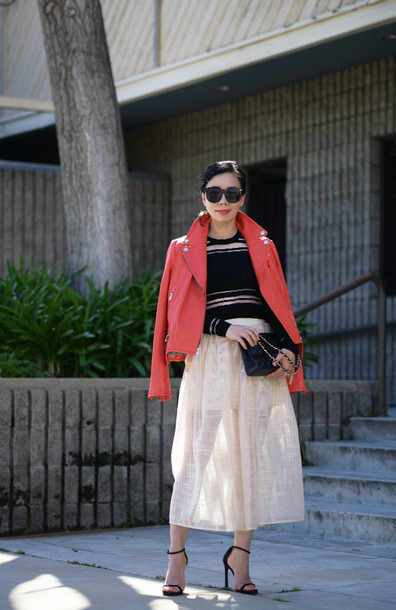 hallie daily blogger midi skirt red jacket striped sweater black sweater top skirt jacket sunglasses bag shoes