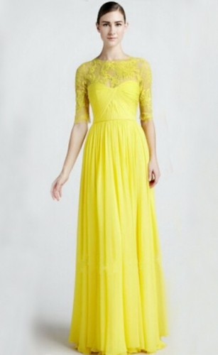 Life fashion elegant yellow lace half sleeve long dress, fashion dress