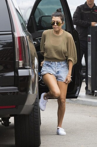 top shorts sneakers mesh mesh top kourtney kardashian kardashians shoes
