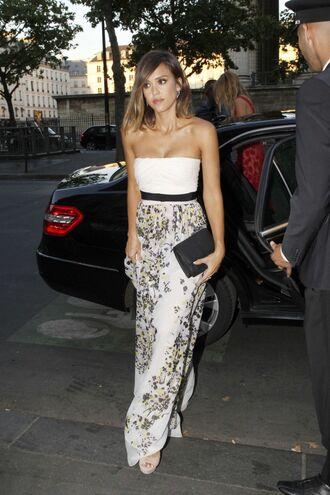 dress gown maxi dress floral strapless summer dress jessica alba prom dress wedding dress