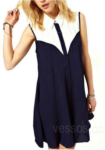 Women's european style lapel sleeveless chiffon dress online