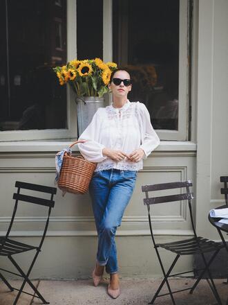 blouse tumblr white blouse bag basket bag denim jeans blue jeans shoes pumps sunglasses