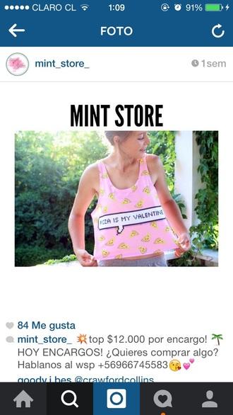 tank top top pizza shirt tumblr shirt