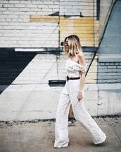 jumpsuit,tumblr,white jumpsuit,lace,white lace,lace jumpsuit,belt,ombre hair,sunglasses,all white everything,spring outfits