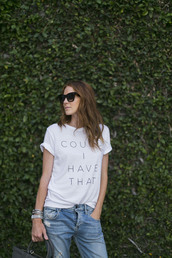 could i have that,blogger,t-shirt,jeans,jewels,bag,sunglasses,quote on it,white t-shirt