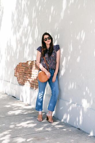 kendi everyday blogger top jeans round bag mules spring outfits
