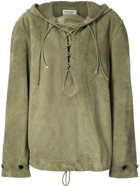hoodie oversized women lace leather green sweater