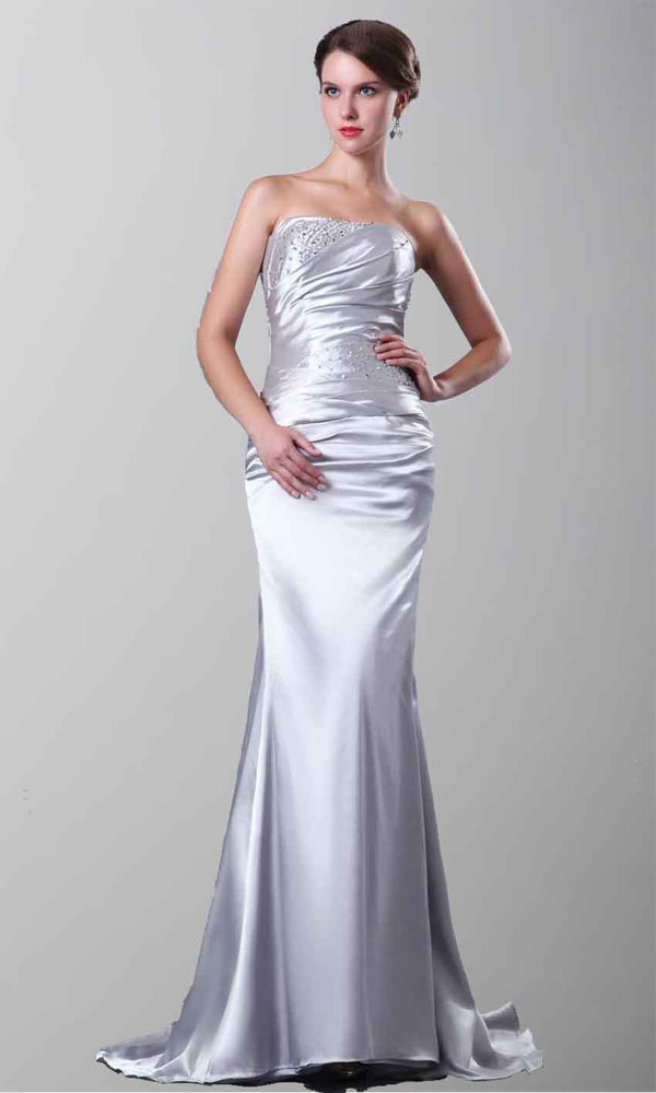 evening dress formal dress silver dress mermaid prom dress lace up dress satin dress strapless wedding dresses