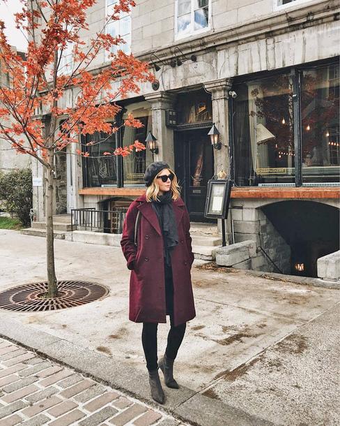 coat hat tumblr beret purple purple coat denim jeans black jeans boots ankle boots sunglasses