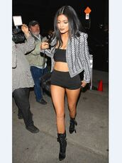shorts,top,kylie jenner,jacket,bag,blouse,kylie jenner balmain tribal embroidered jacket,shoes