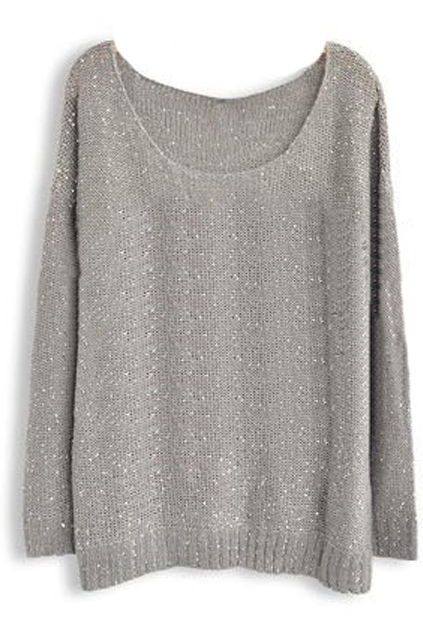 ROMWE | Sequined Grey Jumper, The Latest Street Fashion