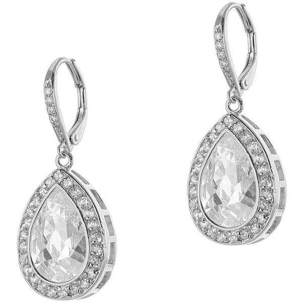 CZ by Kenneth Jay Lane Rhodium-Plated Pear-Shaped Drop Earrings - Polyvore