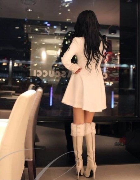 ivory jacket beige soft winter outfits high heels tapado cute coat long sleeve black hair shoes