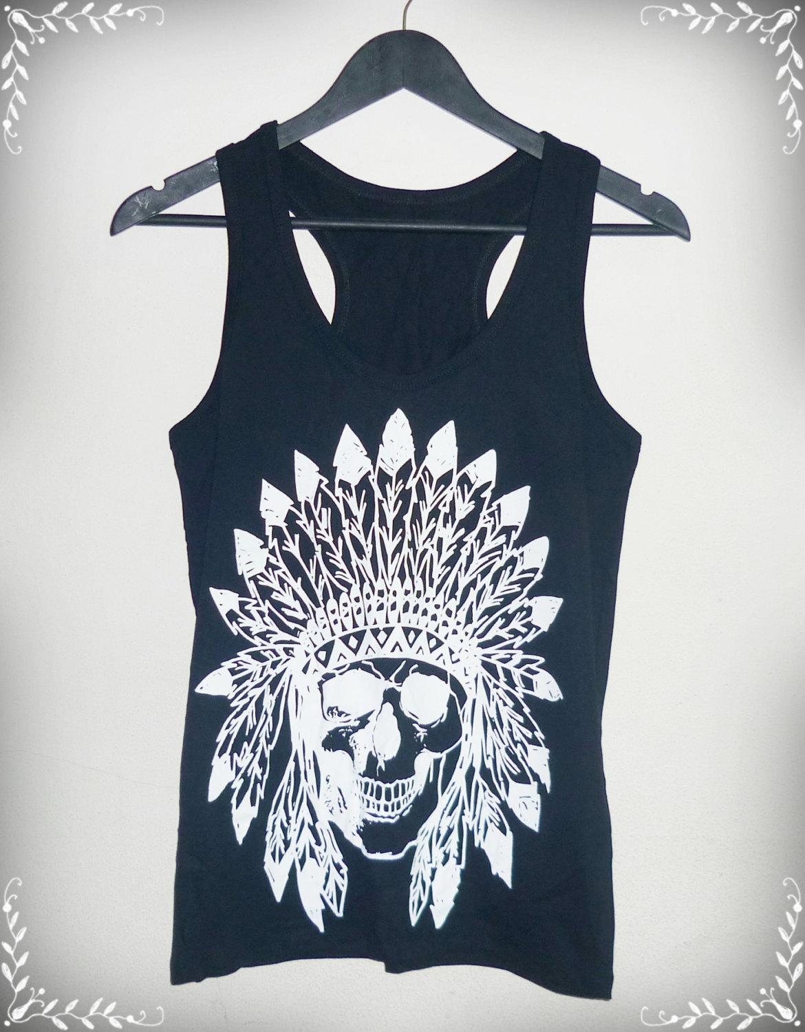 Tank top skull indian native american shirt men women vest s m l xl skull tank top black cotton shirt singlet sleeveless/ fashional clothing