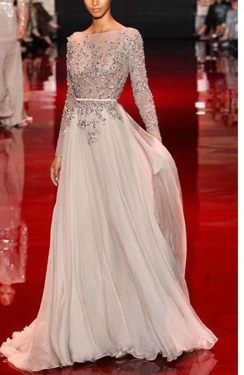 floor length chiffon dress with sleeves