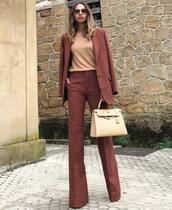 pants,flare pants,high waisted pants,check blazer,plaid,handbag,sunglasses