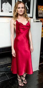 shoes,sandals,red dress,red,midi dress,diane kruger,gown,satin dress,prom dress,slip satin dress