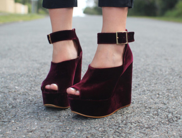 shoes oxblood maroon velvet velvet wedges oxblood wedges wedge wedges platform shoes burgundy