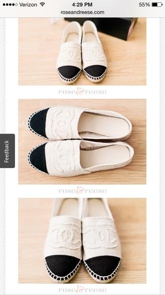 shoes black shoe white shoe chanel espadrilles