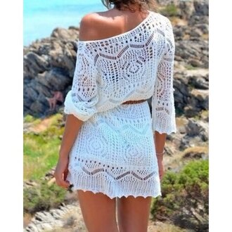 dress white beach crochet cover up women hollow long sleeves fashion