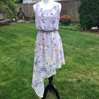dress floral dress pastel dress lavender dress asymmetrical dress watercolor watercolor dress purple dress summer dress spring dress