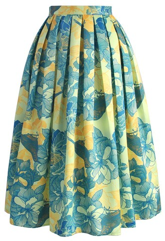 skirt floral affection printed midi skirt chicwish midi skirt floral