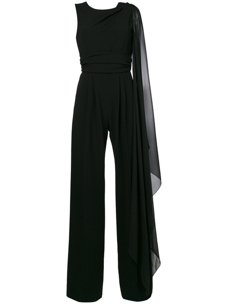 jumpsuit ruffle women black silk