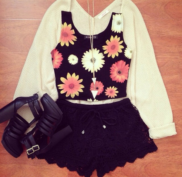 tank top top flowers lace clothes cardigan necklace crop tops shorts jewels jacket shoes shirt dress lace shorts floral crop top pretty flower pattern flowers flowery top summer outfits oversized cardigan short high heels skirt floral black orange white daisy cute black white pink t-shirt pink flowers black shorts