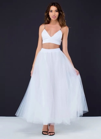 skirt white skirt tulle skirt crop tops