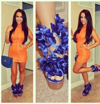 shoes blue blue heels orange neon orange orange dress carli bybel