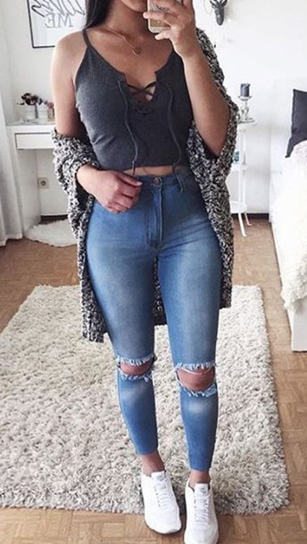 jeans ripped jeans blue jeans crop tops skinny jeans grey top lace up top  top black 27c9a7417