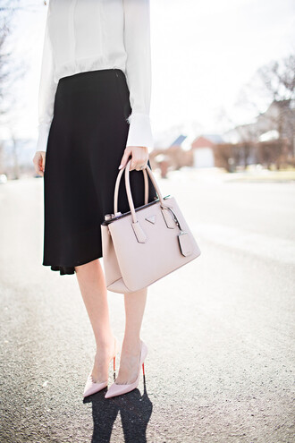 ivory lane blogger prada bag pink heels designer bag pink bag