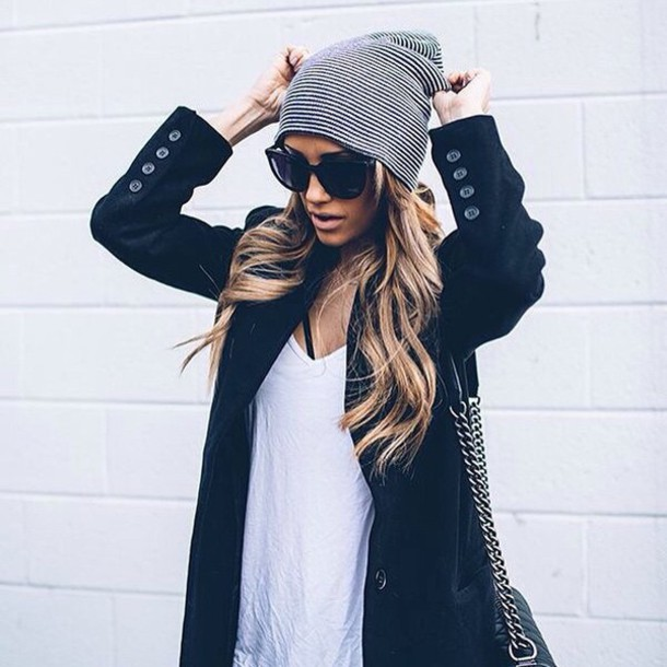sunglasses cool girl style winter outfits blazer stripes beanie cardigan