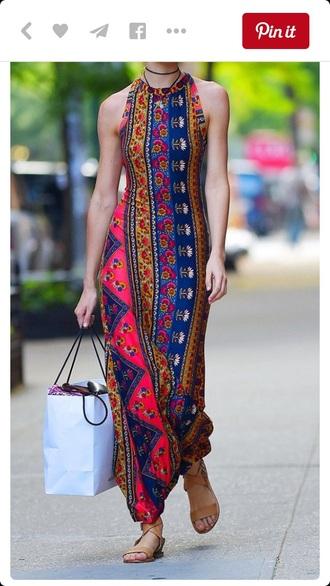 dress maxi dress boho boho dress hippie sleeveless