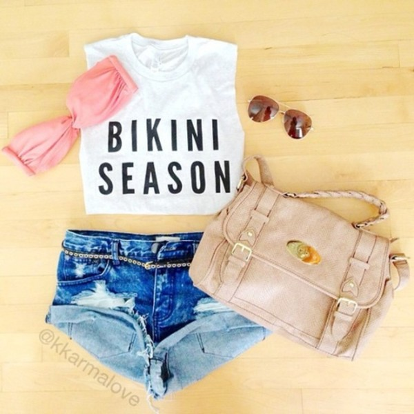 shorts bag bikini sunglasses summer beach tank top shirt t-shirt crop tops top season purse bad handbag belt black and white crop tops blouse summer outfits swimwear quote on it prom dress purse blake lively summer outfits white muscle shirt black lettering summer top cute outfits bikini season