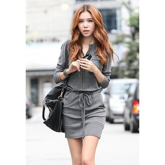 dress sweater dress zip casual asian korean fashion