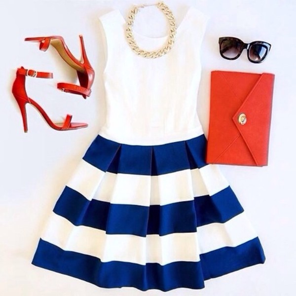dress cute dress cute skater skirt blue dress white dress top skirt blue skirt stripes striped dress sailor fancy blue and white stripped