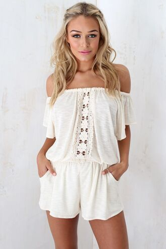 romper boho chic off the shoulder cute romper cute playsuit white romper crochet romper crochet playsit off shoulder romper off shoulder jumper off shoulder jumpsuits