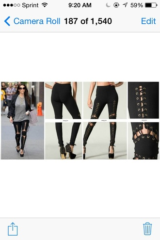leggings black lace up sexy kim kardashian spring bottoms thick pants dope swag instagram tumblr clothes fashion style cool cool girl style urban trendy hot streetstyle chic edge