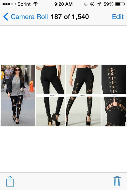 leggings black lace up sexy kim kardashian spring bottoms thick pants dope swag instagram tumblr clothes fashion style cool cool girl style urban trendy trendy hot streetstyle chic edgy