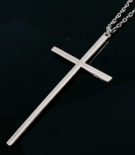 Long silver cross necklace