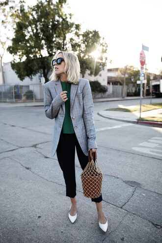 jacket blazer grey blazer plaid plaid blazer pants black pants cropped pants bag net bag mesh sunglasses work outfits