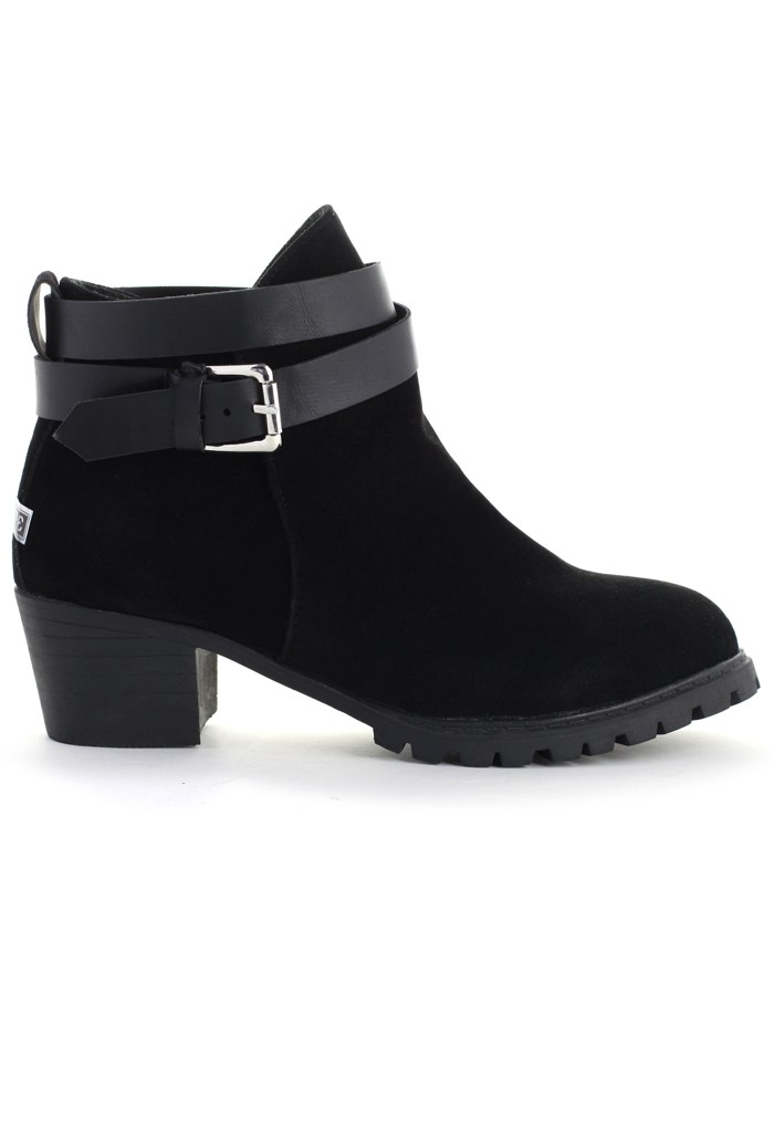 Strapped Faux Suede Ankle Boots in Black - Retro, Indie and Unique Fashion