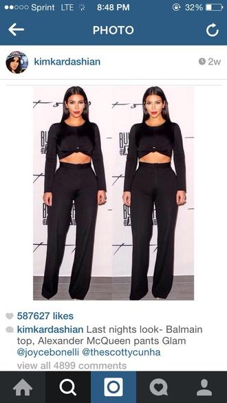 pants black high waisted pants wide-leg pants kim kardashian