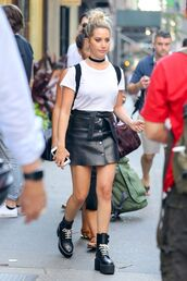 skirt,leather skirt,ashley tisdale,boots,choker necklace,top,black and white,shoes,grunge,jewels,grunge jewelry,black choker,necklace,jewelry,celebrity style,celebrity,celebstyle for less,black velvet choker