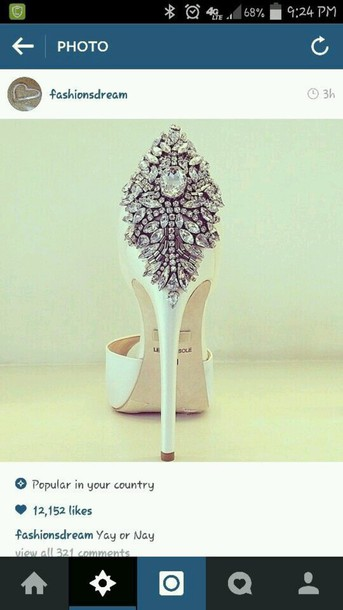 shoes heels white heels mariage diamands