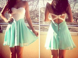 dress white an aqua strapless white strapless sweetheart cut short