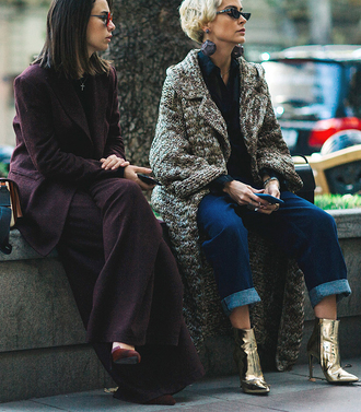 coat tumblr oversized oversized coat denim jeans blue jeans cuffed jeans shirt black shirt boots metal metallic metallic shoes ankle boots high heels boots purple pants wide-leg pants blazer matching set power suit sunglasses streetstyle
