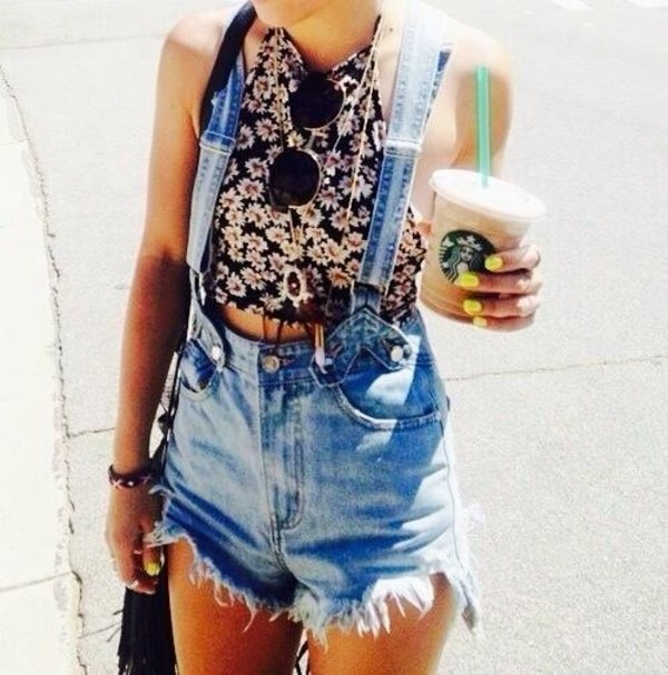 jumpsuit dungarees denim high waisted dungeree denim overalls festival shorts top grunge pinterest starbucks coffee denim shorts daisy