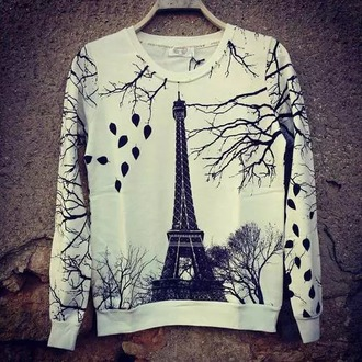 sweater printed sweater paris romantic